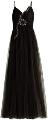 Valentino Snake-embellished Tulle Gown - Black