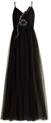 Valentino Snake-embellished Tulle Gown - Womens - Black