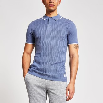 River Island Mens Maison Riviera Blue slim knitted polo shirt