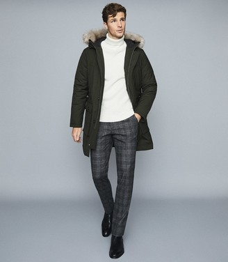 Reiss Pacific - Faux Fur Hooded Parka Coat in Khaki