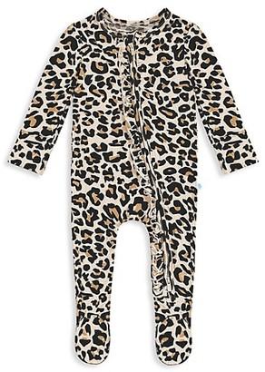Posh Peanut Baby Girl's Lana Leopard-Print Ruffled Footie