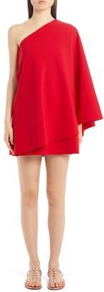 Valentino Cape One-Shoulder Minidress