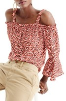 J.Crew Women's Heart Print Silk Cold Shoulder Top