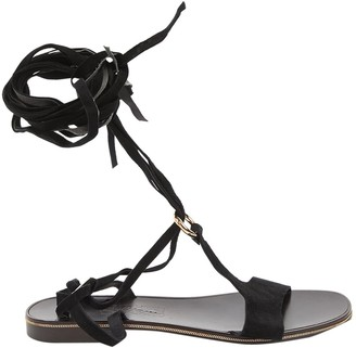 Salvatore Ferragamo Black Suede Sandals