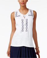 NY Collection Cotton Embroidered Tank Top