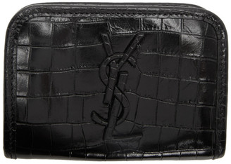 Saint Laurent Black Croc Vintage Niki Card Holder