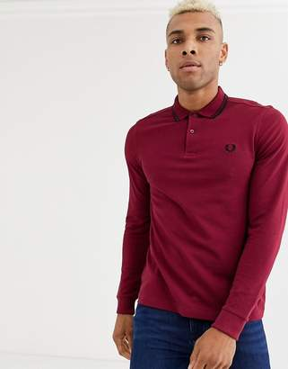 Fred Perry long sleeve twin tipped polo shirt in burgundy