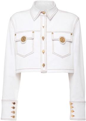 Balmain Stretch Cotton Denim Crop Jacket