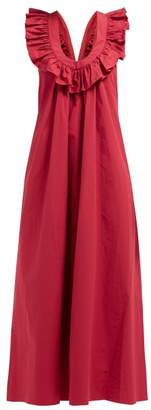 Three Graces London Geraldine Ruffle-strap Cotton-poplin Dress - Womens - Red