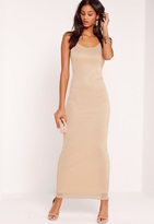 Missguided Mesh Overlay Maxi Dress Nude