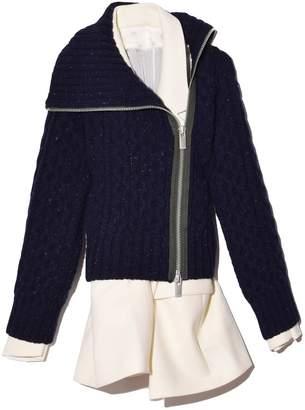 Sacai Melton Jacket x Knit Cardigan in Navy/Off White