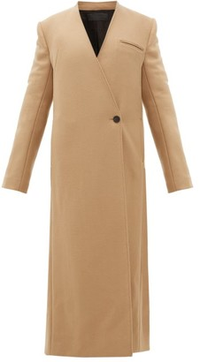 Haider Ackermann V-neck Wool-blend Twill Long-line Coat - Camel