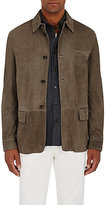 Luciano Barbera Men's Chevron Suede Shirt Jacket-GREY