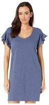 Lilla P Ruffle Sleeve Dress in Loose Knit Slub (Dusk) Women's Clothing