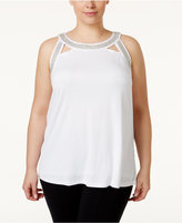 INC International Concepts Plus Size Embellished Halter Top, Only at Macy's