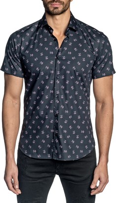 Jared Lang Regular Fit Short Sleeve Button-Up Shirt