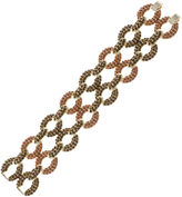 Jardin Pav Brown Stone Two-Row Gold-Tone Link Bracelet