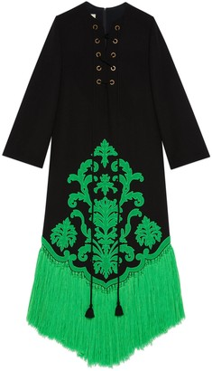 Gucci Embroidered long sleeve wool dress