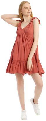 Miss Shop Cheesecloth Tie Shoulder Dress