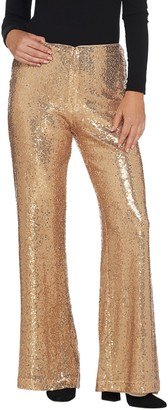 Martha Stewart Petite Sequin Zip Front Wide Leg Pants