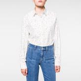 Paul Smith Women's Oversized Off-White 'Mini-Heart' Print Cotton Shirt