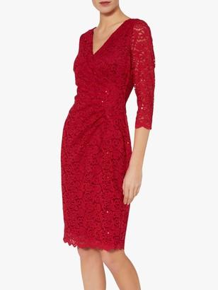 Gina Bacconi Aruna Floral Lace Dress, Red