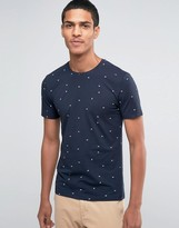 Esprit Crew Neck T-Shirt with All Over Leaf Print