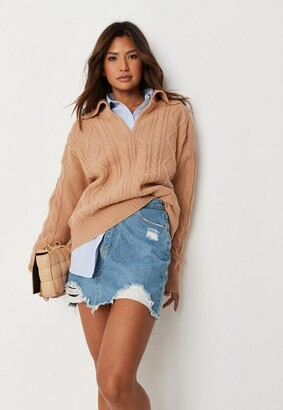 Missguided Denim Ripped A Line Mini Skirt