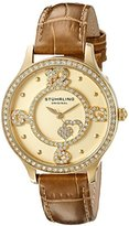 Stuhrling Original Women's Quartz Watch with Gold Dial Analogue Display and Brown Leather Strap 760.04