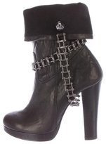 Thomas Wylde Leather Chain-Link Ankle Boots