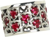 King Baby Studio Women's Heart Patterned Ring with Garnet Stones