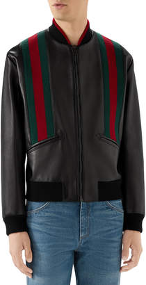 Gucci Men's Web-Striped Leather Bomber Jacket