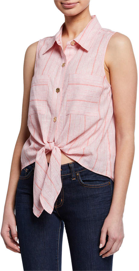 MICHAEL Michael Kors Striped Tie-Front Linen Shirt