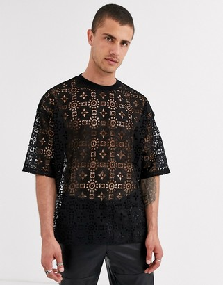 ASOS DESIGN festival oversized t-shirt with half sleeve in black lace