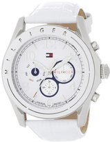 Tommy Hilfiger Women's 1781052 Sport Mother-Of-Pearl Dial White Croco Embossed Strap Subdial Watch