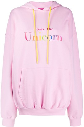 Ireneisgood Save The Unicorn cotton hoodie