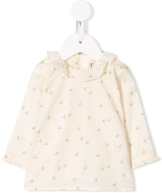 Bonpoint ruffled collar cherry print blouse