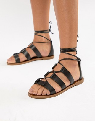Aldo leather tie leg sandals-Black