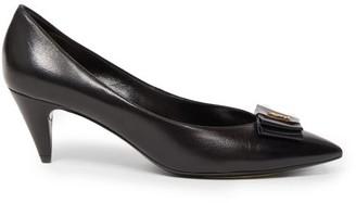 Saint Laurent Anais bow Leather Pumps - Black