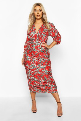 boohoo Plus Woven Large Floral Rose Ruched Wrap Dress