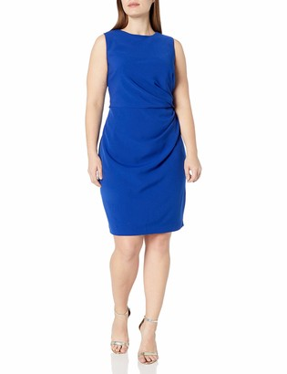 Adrianna Papell Women's Plus Size Womans Tucked Detail Stretch Crepe Sheath