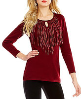"Reba ""Holiday Gems"" Scoop Neck Long Sleeve Fringe Knit Sweater"