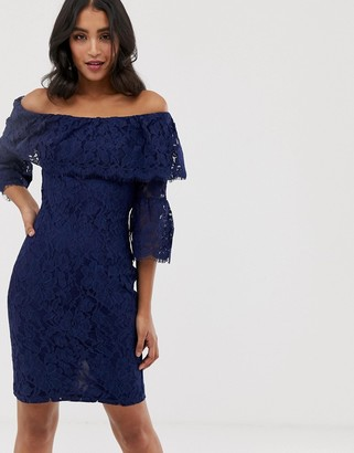 Paper Dolls off the shoulder all over lace pencil dress