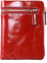 AINIMOER Women's Soft Leather Small Compact Zippe Trifold Wallet with Coin Pocket