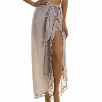 Puimentiua Women's Chiffon Swimsuit Beach Pareo Cover Ups Semi-Sheer Swimwear Short Skirt with Tassels Khaki