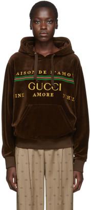 Gucci Brown Chenille Logo Hoodie