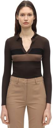 Fendi V Neck Striped Silk Polo Shirt