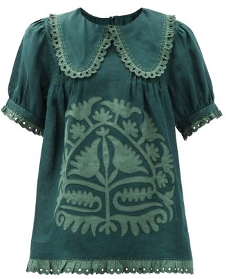 Vita Kin Shalimar Floral-applique Linen Blouse - Green