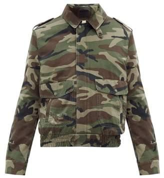 Saint Laurent Camouflage Print Denim And Shearling Jacket - Mens - Green Multi
