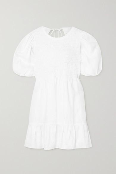 Faithfull The Brand Net Sustain Lorica Open-back Shirred Linen Mini Dress